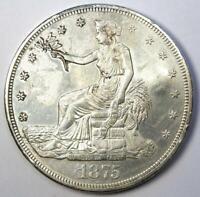 1875-CC Trade Silver Dollar T$1 Choice AU / UNC MS Detail (Chop Mark, Corrosion)