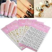 Hot 3D Gold Black Nail Art Tips Stickers Decal Stamping Manicure DIY Decoration