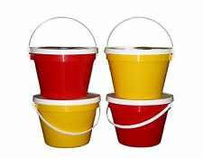 4 One Gallon 2 Each Red Yellow Buckets Lids Pails Made in America Lead Free