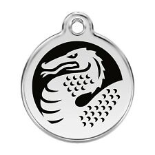 Red Dingo Dog Cat Pet ID Tag Charm FREE Personalized Engraving BLACK DRAGON