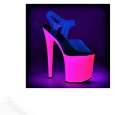 """8"""" Clear Neon Pink Platform Heels Stripper Shoes Glow in Dark Strap size 6 7 8 9"""