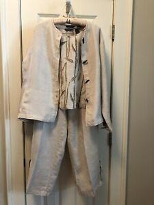 liz claiborne linen three piece pants suit size M