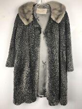 BEAUTIFUL Vintage Womens Persian Lambskin Coat Grey fur w/ Marten Fur Collar XXL