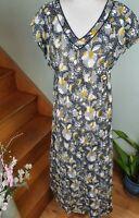 ANOKHI for EAST Navy Cream Boho Printed Indian Cotton Midi Dress Hippy Size 14