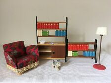 Vintage LUNDBY Dolls House LIVING ROOM Furniture Bookcase Armchair Etc. 1:16/18