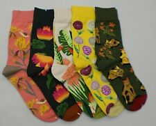 Searchself 5-Pack Multicolor Funky Print Crew Socks Women's One Size 5-9 ~NEW