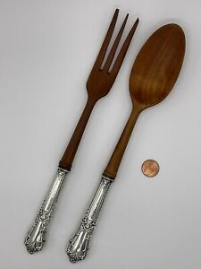 Vintage Sterling Silver Handle Wood Salad Serving Set Spoon and Fork