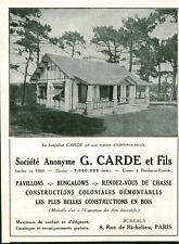 Publicité ancienne bungalow G. Carde et Fils 1931 issue de magazine