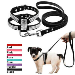 Bling Rhinestone Dog Harness and Leash Soft Suede for Pet Puppy Chihuahua Yorkie
