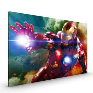 Iron Man Avengers Superhero CANVAS Framed Glossy with Metal Hanger Various Sizes