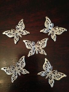 25 x Small Silver Filigree Butterflies Embellishments Metal Wings Crafts