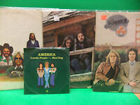 America LP & 45 LOT Hearts 1975, Hideaway 1976, History 1977, Lonely People 7 PS
