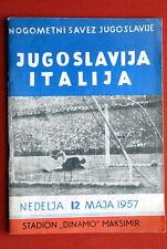 YUGOSLAVIA ITALY 1957 OFFICIAL FOOTBAL SOCCER PROGRAMME ZAGREB