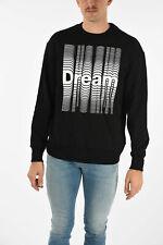 DIESEL men Knitwear Sz M Black Printed Sweatshirt Long Sleeve Sweater Crewnec...