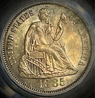 1885 seated liberty dime pcgs ms64 CAC