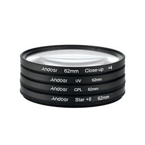 Andoer 62mm UV+CPL+Close-Up+4 +Star 8-Point Filter Circular Filter Kit N3G2