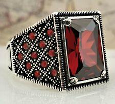 925 Sterling Silber Mens Ring Rot Granat Edelstein Handgefertigt Türkei Stil