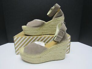 Soludos Positano Espadrille Platform Wedge Sandals Ash Grey Suede Size 7.5