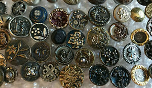 46 Small Antique brass picture buttons~cut steels~twinkles~flowers~tints+~A1