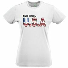 American Womens TShirt Made In The USA Stylised Flag Text US 4th Of July Proud