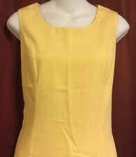 Sag Harbor Cocktail Tea Dress Size 8 Bright Yellow Sleeveless Linen Look Lined