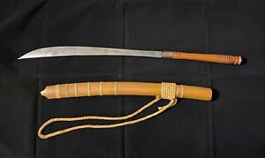 Vintage Collectible Asian Burmese Dha Sword With Wooden Sheath