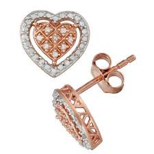 Sterling Silver 1/10 CT Diamond Heart Stud Earrings By Unique Design