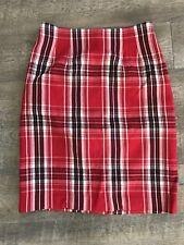 Vintage J.G. Hook Women's Skirt Madras Red Black White Size 8 100% Wool
