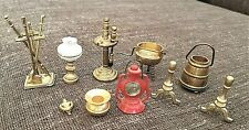 13pc Brass & Metal Miniatures Lot Doll House Andirons Grill Lamp Fireplace Set