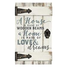 "A HOME IS MADE OF LOVE & DREAMS Barn Door Distressed Wood Sign 14"" x 24"""