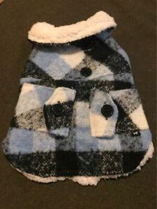 Dog Jacket Size XS Blue and black squares
