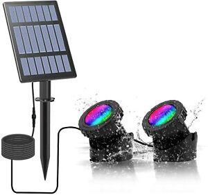 T-SUN 2PCS Solar Pond Light RGB Submersible Lamp Underwater Light Spot Lights UK