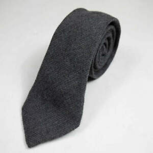 ALEXANDER OLCH America Soft wool solid tie Charcoal gray