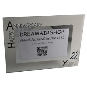 22nd Year Anniversary Picture Photo Frame: (L) (Black/Silver)