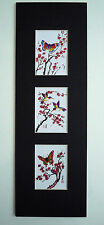 5.5x17 Butterfly Hummingbirds Cherry Blossom Asian Art  - Chinese Brush Painting
