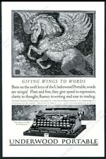 1923 Pegasus flying horse art Underwood portable typewriter vintage print ad