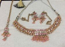 Rosa Y Plata Cristal Bisutería Set-Collar, Aretes & Funda Cadena