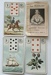 ANTIQUE PLAYING CARDS DONDORF LE NORMAND FORTUNE TELLING 36 CARDS & BOX NO1 1890