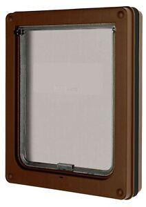 Dog Mate Lockable Dog Flap Medium - Brown Door, For Large Cats and Medium Dogs