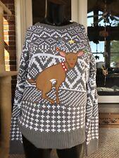 CARBON Ugly Christmas Sweater Reindeer Pooping Christmas Lights Gray & White LG