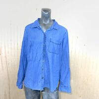 Old Navy Women Large Classic Shirt Blue Chambray Denim Button Down Long Sleeve