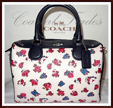 NWT $295 Coach Leather Mini Bennett Floral Satchel Bag TEA ROSE MULTI WHITE 2017