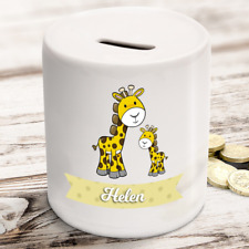 Personalised kids childrens money box in giraffe design - gift present idea