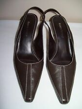 "KAREN SCOTT Majestic Brown Leather Slingbacks - Size  6.5M - 2.5""Heel"