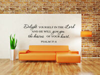 Delight Yourself in the Lord Psalm 37:4 God Wall Decal Vinyl Art Quote Decor