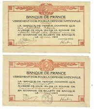 2 BONS de la BANQUE DE FRANCE 1915 / DEFENSE NATIONALE