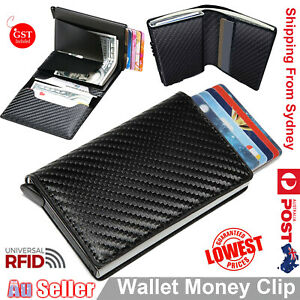 Men RFID Blocking Leather Trifold Credit Cards ID Holder Money Clip Wallet Purse