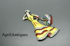Vintage 40s Coro signed enamel yellow dress female girl basket Brooch