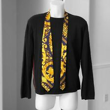 GIANNI VERSACE COUTURE dark purple & gold silk tie Barocco print from ss 1995