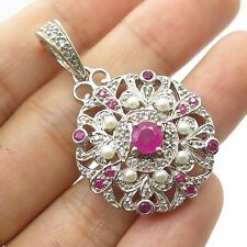 925 Sterling Silver Real Pearl Ruby White Topaz Gemstone Pendant